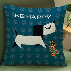 Nordic Style Dog Cotton Printed Decorative Throw Pillow Cases 3 designs
