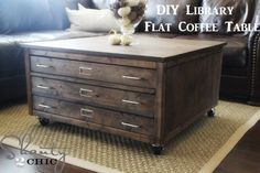 OH MY WORD...I found my dream coffee table! Now if only I had mad building skills. --DIY Pottery Barn Inspired Coffee Table