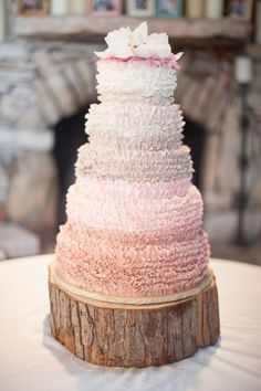 Featured Photographer: Kelly Hornberger; Unique rustic pink ombre textured wedding cake
