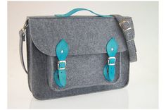 Felt Laptop bag 15 inch with pocket, satchel, Macbook Pro 15 in, Custom size Laptop bag, sleeve, case, with leather straps and belt shoulder on Etsy, $69.00