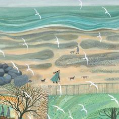 One of Green Pebble's most popular greeting cards, this painting of a woman walking in the snow with her cats is by British artist Dee Nickerson. Map Quilt, Square Card, Naive Art, Henri Matisse, Whimsical Art, Beach Art, Dog Walking, Art Paintings, Art Boards