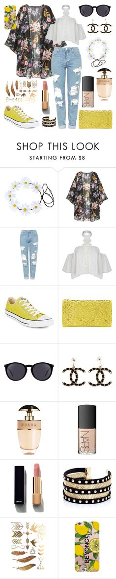 """Untitled #347"" by angelicaaans ❤ liked on Polyvore featuring Topshop, Converse, Melie Bianco, Yves Saint Laurent, Chanel, Prada, NARS Cosmetics and River Island"