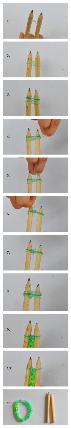 How to make a loom band bracelet with 2 pencils - tutorial #rainbowloom #loombands