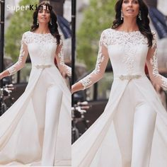 Jumpsuits for women 2020 lace appliqué beaded long sleeve ivory pants for weddings robe de soiree jumpsuits for women 2020 lace appliqué beaded long sleeve ivory pants for weddings robe de soiree - Jumpsuits and Romper Formal Jumpsuit, Wedding Jumpsuit, Lace Jumpsuit, White Jumpsuit, Evening Dresses With Sleeves, White Long Sleeve, Long Sleeve Maxi, Jumpsuits For Women, Jumpsuits For Weddings