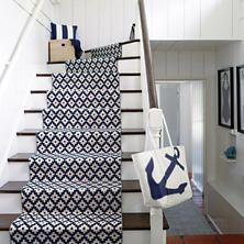 The Dash and Albert Samode Navy/Ivory Indoor/Outdoor Rug is durable and easy to clean. Dash and Albert Rugs always ship free at Lavender Fields. Outdoor Pouf, Indoor Outdoor Area Rugs, Outdoor Rooms, Staircase Runner, Stair Runners, Navy Stair Runner, Staircase Landing, Rug Runner, Carpet Stairs