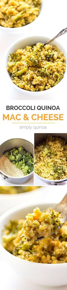QUINOA MAC AND CHEESE with broccoli -- the perfect meal when you think you have no time to cook. Takes just one pot, takes less than 20 minutes AND it only uses 5 ingredients! [gluten-free + vegan]