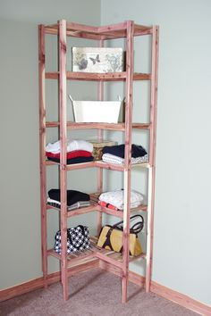 Basic Ventilated Cedar Corner Cubby Closet Organizer