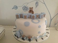 Christening cake for beautiful baby boy Christening Cake Boy, Cake Makers, Cakes For Boys, Beautiful Babies, Baby Boy, Birthday Cake, Baby Cakes, Desserts, Drink