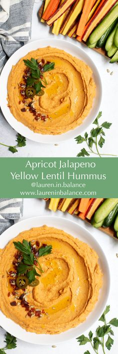 Yellow lentils take the place of traditional chickpeas for a more protein-packed snack in this slightly sweet, slightly spicy hummus. #glutenfree #dairyfree #healthysnack #hummus #lentil