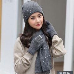 f6027ed8eb312 Beaded beanie hat scarf and gloves set for women knit winter hats