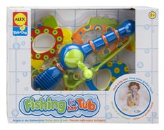 Reel 'em into bath time with Fishing in the Tub! Lower the rope and hook one of the four, bright, patterned foam fish and reel it in! They won't even realize they're learning to count. #ALEXToys