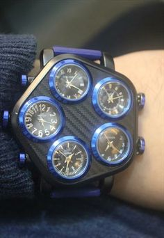 Mens Oversize Multi time Statement Watch
