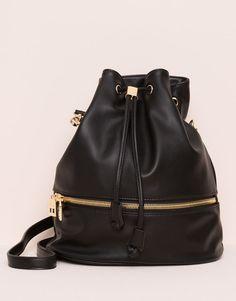 Pull&Bear - mujer - bolsos y mochilas - bolso saco tipo bombonera detalle cremallera - negro - 09821336-I2015