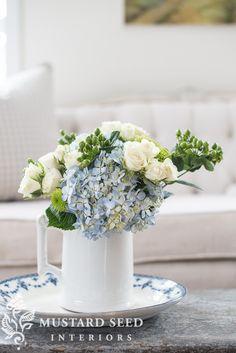 blue hydrangeas, white roses, green crysanthemums