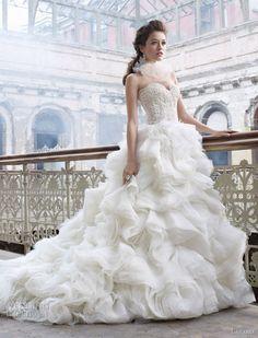 Lazaro Spring 2012 Bridal Collection  layered organza skirt, lace bodice