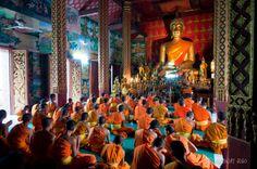 Temples and monks of Luang Prabang, Laos.