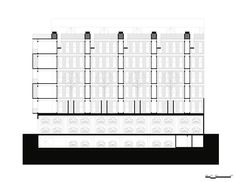 Image 29 of 30 from gallery of Emiliano Zapata Building / HGR Arquitectos. Longitudinal Section Longitudinal Section, Periodic Table, Arch, How To Plan, Gallery, Building, Architects, Buildings, Floor Plans