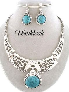 Chunky Western Silver Crystal Turquoise Stone Crystal Bib Necklace Set Jewelry
