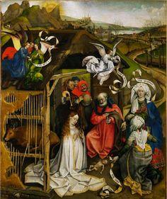 Robert Campin ?, Nativité (et Adoration des Bergers), vers 1435 ?, huile sur bois, Dijon, musée des Beaux-Arts.
