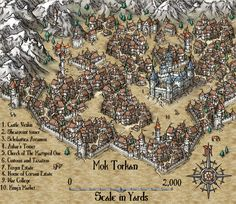 City of Mok Torkan map cartography | Create your own roleplaying game material w/ RPG Bard: www.rpgbard.com | Writing inspiration for Dungeons and Dragons DND D&D Pathfinder PFRPG Warhammer 40k Star Wars Shadowrun Call of Cthulhu Lord of the Rings LoTR + d20 fantasy science fiction scifi horror design | Not Trusty Sword art: click artwork for source