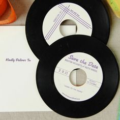 A unique save the date idea for a musical couple - use vinyl records