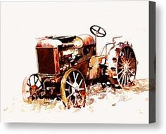 John Deere Tractor Canvas Prints - Rusty Tractor In The Snow Canvas Print by Suni Roveto