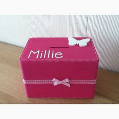 A lovely wooden money box available for boys too xx