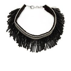 Amrita Singh Women's Linda Fringe Choker - Black ($49) ❤ liked on Polyvore featuring jewelry, necklaces, black, long choker, long beaded necklace, long fringe necklace, beaded choker necklaces and amrita singh