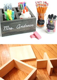 Mason Jar School Supply Organizer | Click Pic for 18 DIY Back to School Teachers Gifts Ideas | Handmade Gifts for Teachers Beginning of Year
