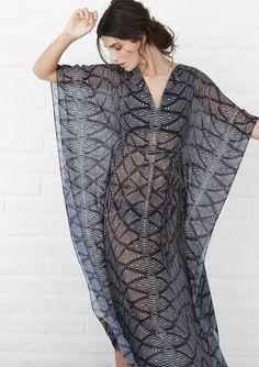 Silk caftan, long maxi dress in sheer arrow print.  Perfect beach cover up.  More at www.oceanandmain.com