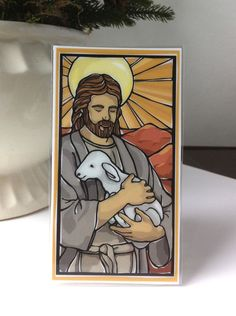 Good Shepherd Holy Card with Psalm 23--Beautiful! -- would make a lovely tracing work
