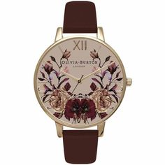 Olivia Burton Watch - Winter Garden - Mirror Floral Burgundy & Gold (twistedtime.com) Bags, Scarves, Belts, Hats, Sunglasses, Socks & Tights, Phone Cases, Shoes, Cases. women's fashion, outfit inspiration, pretty clothes, shoes, bags and accessories