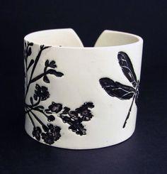 Cuff Bracelet Polymer Clay Jewelry Dragonfly by PolymerPlayin, $18.00