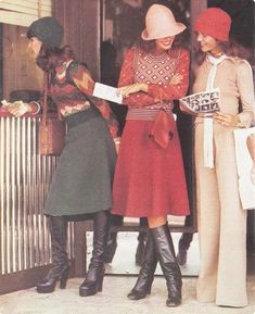 1970s Australian fashions for autumn. Love the looks with skirts munis those hats. Add a huge floppy brimmed one and voila! Perfection!