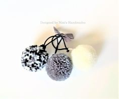 Set of 3 Unique Grey Tone Inspired Pom Pom Ponytail Holder #fashionable #grey  tone  #cute #colorful #pom pom #hair accessories #pom pom ponytail holder #ninishandmades #buy handmade