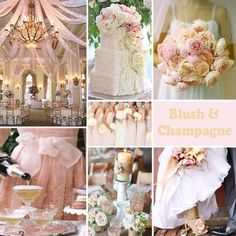 Blush and Champagne Wedding Colors - Blush and champagne is a subtle and romantic combination. by DeeDeeBean Best Wedding Colors, Wedding Color Schemes, Wedding Themes, Wedding Decorations, Wedding Ideas, Wedding Inspiration, Wedding Details, Prom Ideas, Inspiration Boards