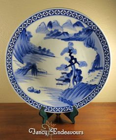 Huge Scenic Chinese Blue & White Porcelain Charger Plate Platter #Unknown