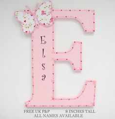 Bella Butterfly Door Name Plaque Letter