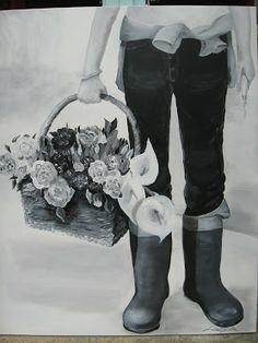"""""""Panier des fleurs"""" 100 x 75 cm Acrylic on canvas SOLD"""