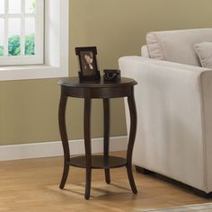 @Overstock.com - Walnut 18-inch Round Accent Table - A perfect match for any sofa, this accent table features a rich walnut finish. The round shape and accented legs create a warm look in any living room. http://www.overstock.com/Home-Garden/Walnut-18-inch-Round-Accent-Table/4820043/product.html?CID=214117 $89.99