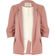 River Island Blush pink ruched sleeve blazer (£88) ❤ liked on Polyvore featuring outerwear, jackets, blazers, coats / jackets, pink, women, woven jacket, slim blazer, river island jackets and ruched sleeve blazer