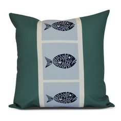 """Breakwater Bay Bartow Fish Chips Throw Pillow Size: 26"""" H x 26"""" W x 3"""" D, Color: Green"""