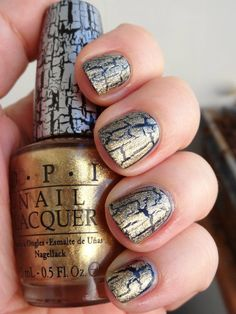 OPI Gold Shatter Gold Glitter Nail Polish, Red And Gold Nails, Black Gel Nails, Red Nail Polish, Red Nails, Nail Polishes, Gel Nail Colors, Gel Nail Art, Easy Nail Art