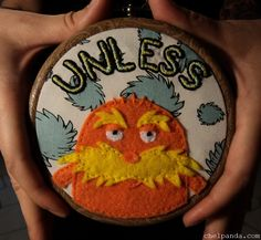 The Lorax Embroidery Hoop Wall Art