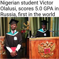 Nigerian student Victor Olalusi, scores 5.0 GPA in Russia, first in the world