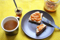 home-baked bread with tangerine jam
