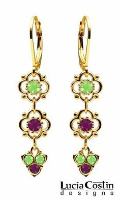 Stylish Dangle Flower Earrings Designed by Lucia Costin Ornate with 4 Petal Flowers, Light Green and Violet Swarovski Crystals, Dots and Fancy Charms; 14K Yellow Gold .925 Sterling Silver Plated; Handmade in USA Lucia Costin. $39.00. Update your everyday style with inspiration when wearing this piece of jewelry. Unique jewelry handmade in USA. Dangle ornaments accented with floral design. Garnished with peridot green and dark purple Swarovski crystals. Dangle ...