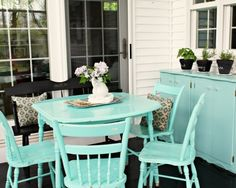 I'm going to buy a second hand table and chairs and paint them a fun color for outside! It'll have charm and character and will save a ton of money on outdoor furniture.