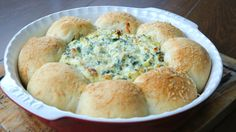 Spinach and Artichoke Dough Ball Dip Ring - Twisted