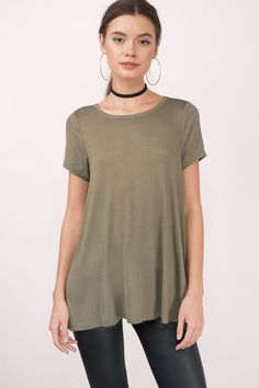 "Search ""Stolen Nights Olive Swing Tee"" on Tobi.com! Basic outfit simple easy chic fashionable stylish style fashion vacation travel essential capsule wardrobe must have casual comfy comfortable trendy spring summer shop buy cheap inexpensive ideas for women teens cute edgy closet fall college outfit outfits"